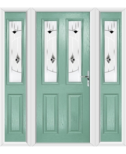 The Cardiff Composite Door in Green (Chartwell) with Black Murano and matching Side Panels