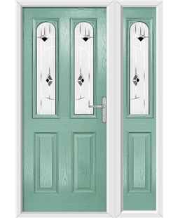 The Aberdeen Composite Door in Green (Chartwell) with Black Murano and matching Side Panel
