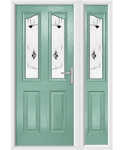 The Birmingham Composite Door in Green (Chartwell) with Black Murano and matching Side Panel