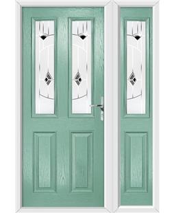 The Cardiff Composite Door in Green (Chartwell) with Black Murano and matching Side Panel