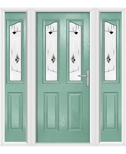 The Birmingham Composite Door in Green (Chartwell) with Black Murano and matching Side Panels