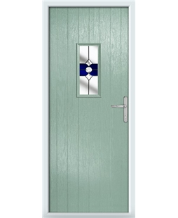 The Taunton Composite Door in Green (Chartwell) with Blue Crystal Bohemia