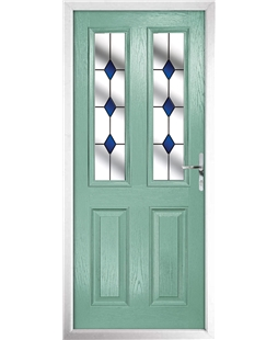 The Cardiff Composite Door in Green (Chartwell) with Blue Diamonds