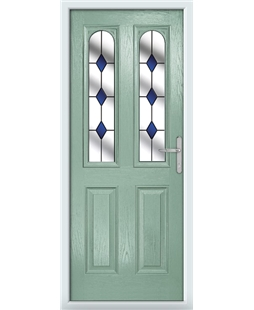 The Aberdeen Composite Door in Green (Chartwell) with Blue Diamonds