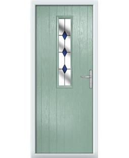 The Sheffield Composite Door in Green (Chartwell) with Blue Diamonds