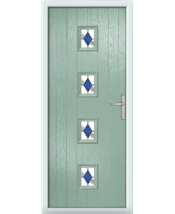 The Uttoxeter Composite Door in Green (Chartwell) with Blue Diamonds