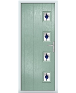 The Preston Composite Door in Green (Chartwell) with Blue Diamonds