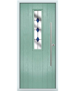 The York Composite Door in Green (Chartwell) with Blue Diamonds