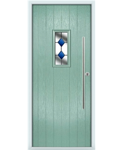 The Zetland Composite Door in Green (Chartwell) with Blue Diamonds