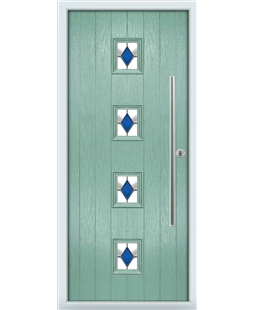 The Leicester Composite Door in Green (Chartwell) with Blue Diamonds