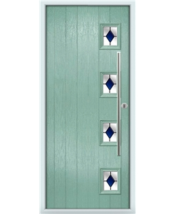 The Norwich Composite Door in Green (Chartwell) with Blue Diamonds