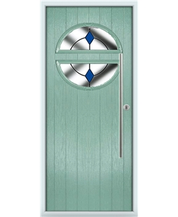 The Xenia Composite Door in Green (Chartwell) with Blue Diamonds