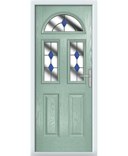 The Glasgow Composite Door in Green (Chartwell) with Blue Diamonds