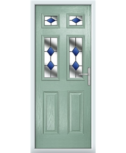 The Oxford Composite Door in Green (Chartwell) with Blue Diamonds