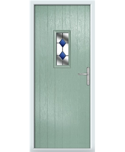 The Taunton Composite Door in Green (Chartwell) with Blue Diamonds
