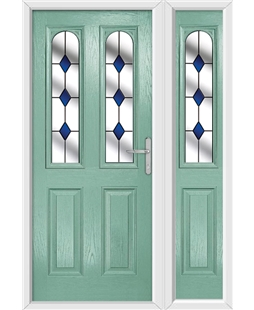 The Aberdeen Composite Door in Green (Chartwell) with Blue Diamonds and matching Side Panel