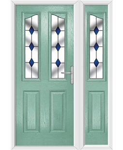 The Birmingham Composite Door in Green (Chartwell) with Blue Diamonds and matching Side Panel