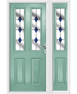 The Cardiff Composite Door in Green (Chartwell) with Blue Diamonds and matching Side Panel