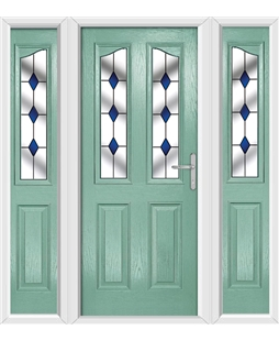 The Birmingham Composite Door in Green (Chartwell) with Blue Diamonds and matching Side Panels