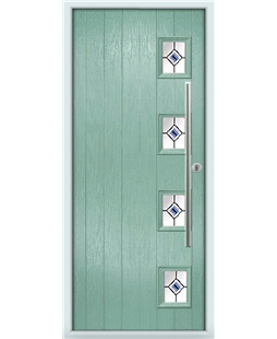 The Norwich Composite Door in Green (Chartwell) with Blue Fusion Ellipse