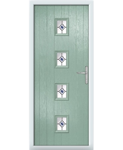 The Uttoxeter Composite Door in Green (Chartwell) with Blue Fusion Ellipse