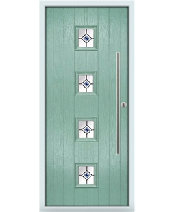 The Leicester Composite Door in Green (Chartwell) with Blue Fusion Ellipse