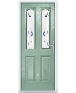 The Aberdeen Composite Door in Green (Chartwell) with Blue Murano