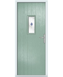 The Taunton Composite Door in Green (Chartwell) with Blue Murano
