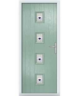 The Uttoxeter Composite Door in Green (Chartwell) with Blue Murano