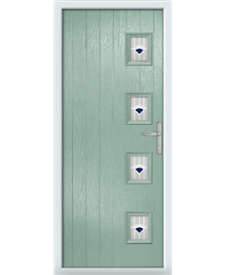 The Preston Composite Door in Green (Chartwell) with Blue Murano