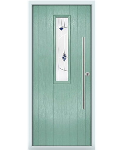 The York Composite Door in Green (Chartwell) with Blue Murano