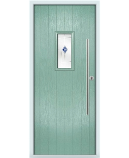 The Zetland Composite Door in Green (Chartwell) with Blue Murano