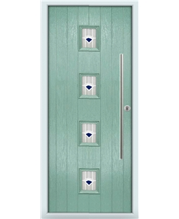The Leicester Composite Door in Green (Chartwell) with Blue Murano