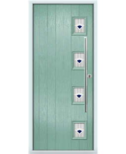 The Norwich Composite Door in Green (Chartwell) with Blue Murano