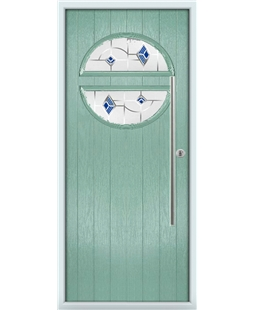 The Xenia Composite Door in Green (Chartwell) with Blue Murano