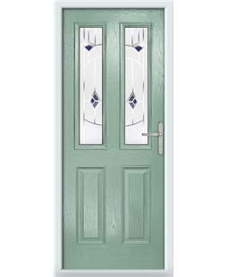 The Cardiff Composite Door in Green (Chartwell) with Blue Murano