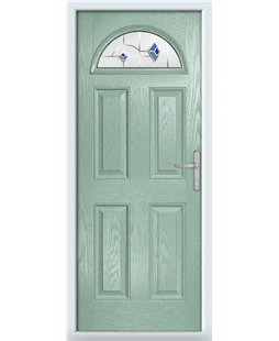 The Derby Composite Door in Green (Chartwell) with Blue Murano