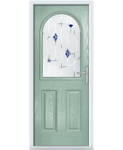 The Edinburgh Composite Door in Green (Chartwell) with Blue Murano