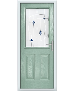 The Farnborough Composite Door in Green (Chartwell) with Blue Murano