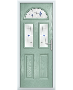 The Glasgow Composite Door in Green (Chartwell) with Blue Murano