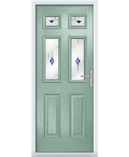 The Oxford Composite Door in Green (Chartwell) with Blue Murano