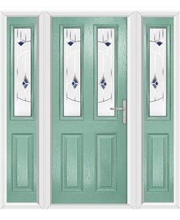 The Cardiff Composite Door in Green (Chartwell) with Blue Murano and matching Side Panels