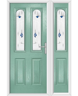 The Aberdeen Composite Door in Green (Chartwell) with Blue Murano and matching Side Panel