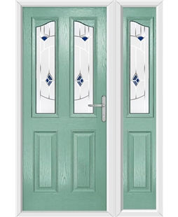 The Birmingham Composite Door in Green (Chartwell) with Blue Murano and matching Side Panel