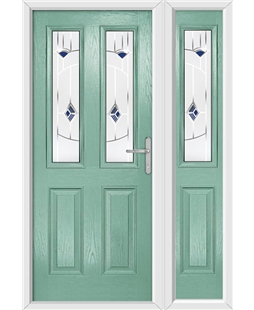 The Cardiff Composite Door in Green (Chartwell) with Blue Murano and matching Side Panel