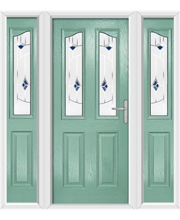 The Birmingham Composite Door in Green (Chartwell) with Blue Murano and matching Side Panels