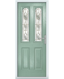 The Aberdeen Composite Door in Green (Chartwell) with Brass Art Clarity