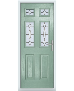 The Oxford Composite Door in Green (Chartwell) with Brass Art Clarity