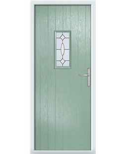 The Taunton Composite Door in Green (Chartwell) with Brass Art Clarity