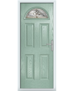 The Derby Composite Door in Green (Chartwell) with Brass Art Clarity